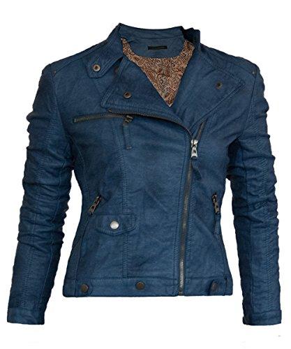Softy Damen Lederjacke in 30 Farben Biker Style 0508 Vegan Leder Jeansblau