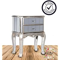 Bella Mirrored Bedside Table 2 Drawers by Casa Maria | Glass Cabinet Bedroom Mirror Furniture - French Style Shabby Chic with Antique Silver Finish - Handmade, Ready Assembled & Free 5 Year Warranty