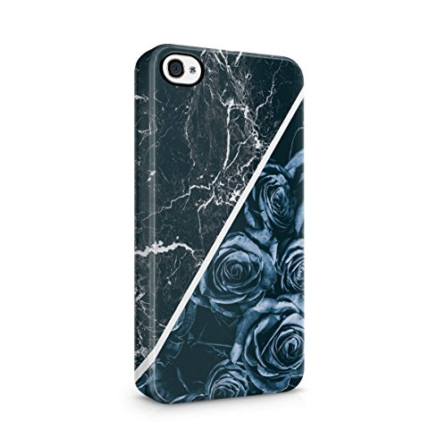 Black Striped Marble With Red Roses Apple iPhone 4 , iPhone 4S Snap-On Hard Plastic Protective Shell Case Cover Custodia Midnight Blue