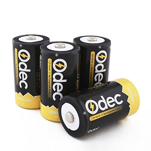 Odec Mono D Akku, 4 Stück 10000mAh NiMH Akku D Wiederaufladbare Batterie LR20