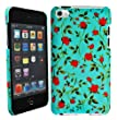 cellmax Apple Ipod Touch 4 4th Generation Hard Shell Back Protection Case Little Red Roses With Green Leafs Pattern Cover Skin Clip On Protection