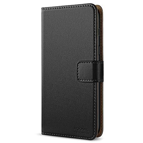 HOOMIL Handyhülle für Samsung Galaxy A8 2018 Hülle, Premium Leder Flip Schutzhülle für Samsung Galaxy A8 (2018) Tasche, Schwarz