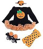 Happy Cherry - 4PCS Costume Vestito Pagliaccetto della Bambina Neonata con Manica Lunga per Halloween Natale Feste Party - 3-6 Mesi - Arancio - Taglia M