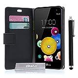 zStarLn® schwarz Hülle Leder Tasche für LG K4 Hülle Handytasche Zubehör Schutzhülle Etui + Stylus pen und 3 Films Schutzfolie