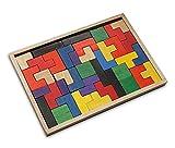 Holzpuzzle Legepuzzle Tetris Puzzle aus Holz natur bunt, Größe L - 24,5 x 17 x 1,7 cm, Denkspiel Knobelspiel Holzspiel Legespiel, Geschenk Kinder