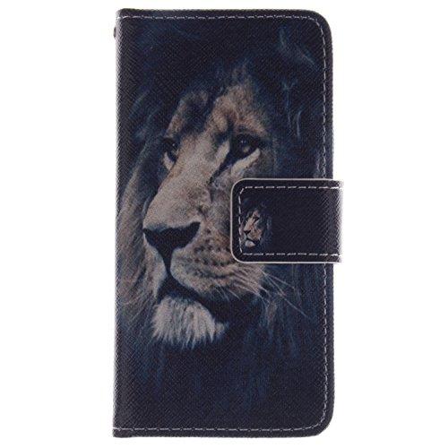 Anlike Lederhülle Leder Tasche Case für Samsung Galaxy S4 mini (4,3 Zoll) Hülle PU Leder Flip Brieftasche Schutzhülle Wallet Cover Handytasche Schutzhülle Handy Zubehör Handyhülle mit Bookstyle mit Standfunktion Kredit Kartenfach für Samsung Galaxy S4 mini (4,3 Zoll) - Löwe 4.3 Leder