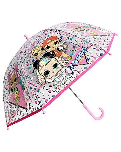 Paraguas Transparente niña LOL Surprise Let`s be Friends! #CollectLOL 45 cm, Apertura Manual