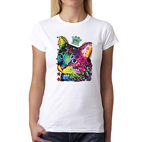Dean Russo Krone Katze Tiere Damen T-Shirt Weiß S (Katze Dean Russo)