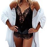 ❤️Jumpsuit Rompers, Amlaiworld Femmes Combinaison Col V Sans Manches Lingerie Sexy Dentelle Vêtements de Clubwear Robe Cardigan (L, Noir)