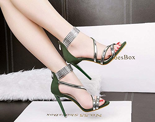 NobS Chaussures Talons Hauts Talons Ouverts Chaussures Chaussures En MéTal Chaussures GlissièRe Green