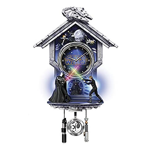 Officially Licensed Star Wars™: Sith vs. Jedi Clock Fully-Sculpted Darth