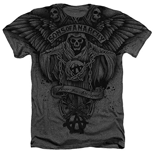 Sons-of-Anarchy-Reaper-Con-Alas-para-hombre-Heather-camiseta