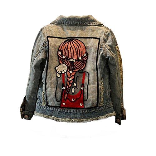 3830b6e8888b5 Sunenjoy Enfants Petite Fille Mode Cristal Broderie Denim Veste Cowboy  Outwear Manches Longues Automne Hiver Simple