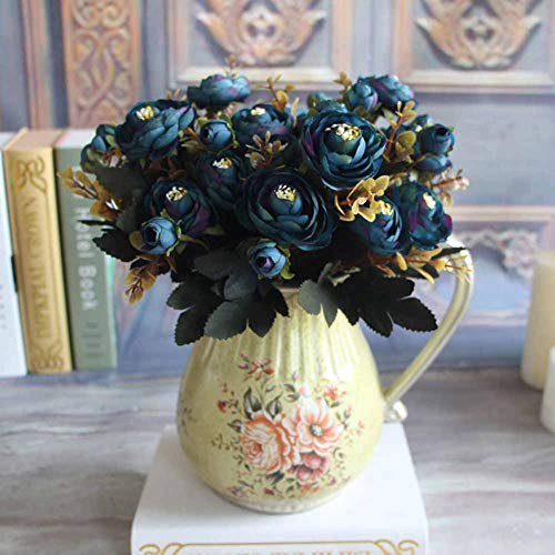 Artificial & Dried Flowers - 6 Branches Artificial Silk Tea Rose Buds Flowerhome Party Bouquet Decorative Fake Hydrangea - Flowers Artificial Dried Artificial Dried Flowers Lily Hydrangea Bouq - Blossom Room Spray