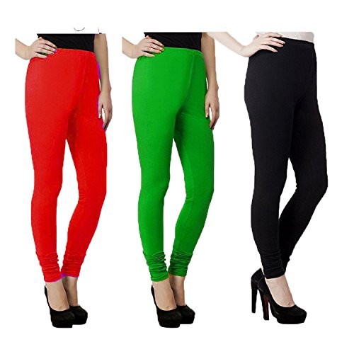 Qualimate Cotton Lycra Anchor Leggings for Women Combo (Pack of 3)