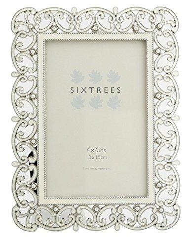 Antique Vintage e Stile Shabby Chic Argento Cornice in metallo con perle e cristalli in 23stili per 10,2x 10,2cm 15,2x 10,2cm e immagini 17,8x 12,7cm-da Sixtrees, metallo, Argento, 6