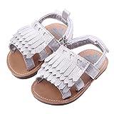 Zapatos Bebe,  Amlaiworld Sandalias con borlas de bebé niña niño Recién Nacidas Zapatos Bebé Prewalker Verano Zapatos de Cuna Zapatos de Princesa de niñas (Plata, Tamaño:12-18Mes)