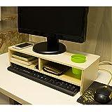 AJZGF Computer Monitor Holzständer, Büroablage 2 Regale, mit Stifthalter, Größe 50 * 20 * 13cm Regal