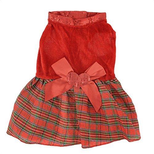 DealMux Checker Printed Hund Doggy Haken Klettverschluss-Kleid-Kleid, Medium, Rot (De Prendas Vestir)