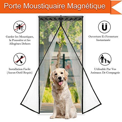 CosyVie - Tenda zanzariera per porta, 90x 210cm, magnetica, anti mosche/insetti/zanzare, pratica nero