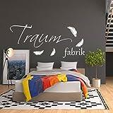 WANDTATTOO AA018 Wandschnörkel ® Traumfabrik Spruch Wanddekoration Schlafzimmer Kinderzimmer Federn Farbe./Größenauswahl