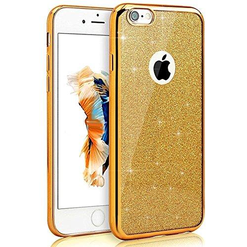 iPhone 7 Hülle Glitzer,Bling Hülle Case für iPhone 7,Ekakashop Luxus Rosa Chrom Funkelnsternen Sparkle TPU Silikon Defender Protective Schutzhülle Rückseite Schale Praktisch Back Case Cover mit Finger Gold Chrom