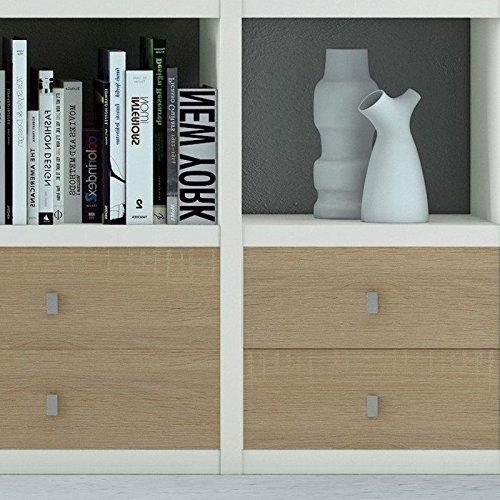 Wohnzimmer weiß lackiert – Eiche Sonoma Bücherregal WohnwandFernsehschrank - 3