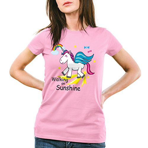 style3 Unicorn Walking on Sunshine Damen T-Shirt Einhorn Pink