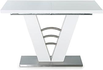 Lifestyle4living Esstisch In Weiß Hochglanz, Ausziehbarer Esszimmertisch,  120 160 Cm Breit Und 80