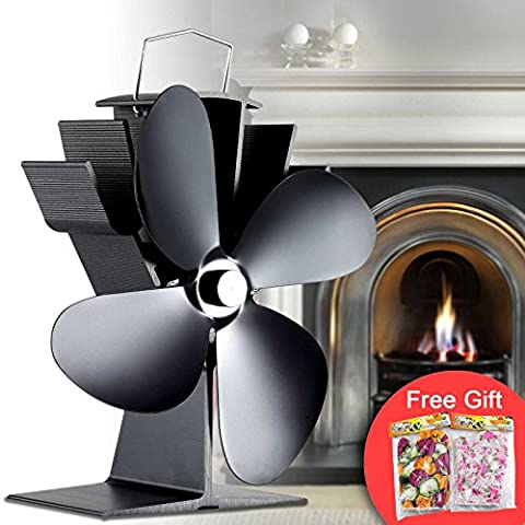 Tribesigns New Design 4 Blade Heat Powered Stove Fan for Wood Log / Coal Burner / Wood Stoves - Eco Friendly Black