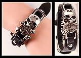 Pulsera Pulsera Harley Davidson de piel y Calavera Acero emblema logo bar&shield