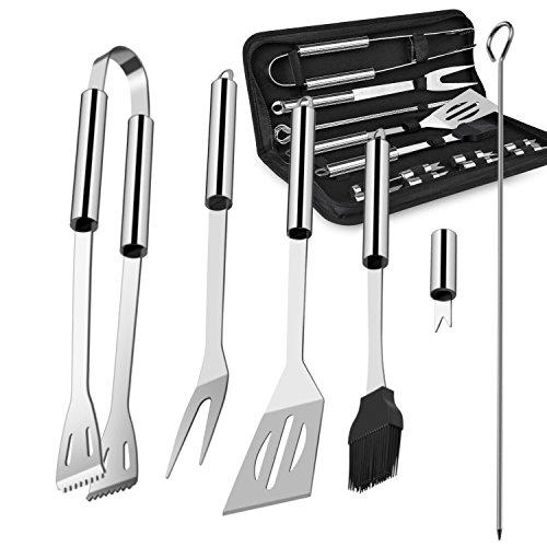 Chenci Grillbesteck BBQ Grillzubehör 16 Set, Barbecue Grillen Werkzeuge Koffer aus Edelstahl mit Wärmeisolierende Griff Ideal für Outdoor Familien Garten Party