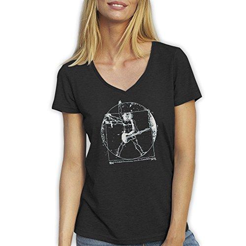 Banksy Da Vinci Vitruvian Man Rock Guitar Cool Art Schwarz T-Shirt für Damen mit V-Ausschnitt Medium (Da Vinci Guitar Shirt)