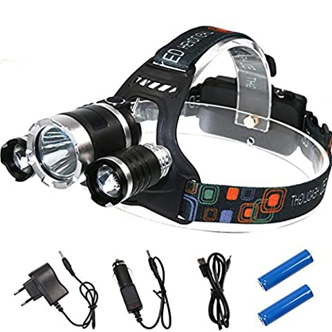 Yovvin LED Headlamp Rechargeable Outdoor Charge Waterproof Headlight Zoomable Head Torch for Cycling Running Outdoor Hiking