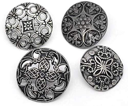 CansyY 12 Stück zufällig gemischte Metallknöpfe 23-28mm, rund im Mix, Öse 2,3-2,8mm Ösenknöpfe Mantelknöpfe Jackenknöpfe Knöpfe Nähen annähen Verschiedene Muster