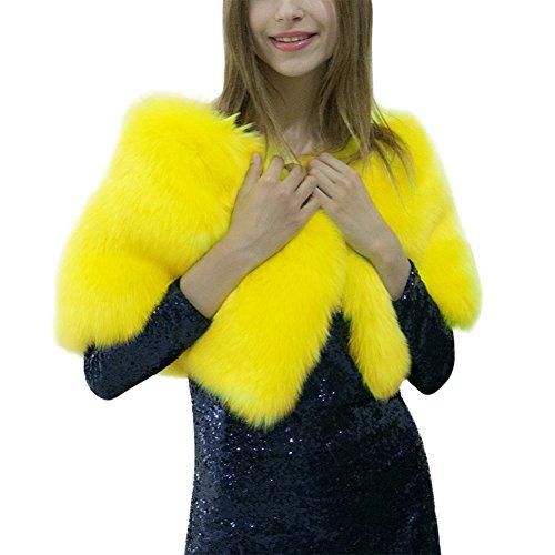 IBaste 2017 nouvelles femmes Sexy à la mode automne hiver fourrure poncho à fourrure Warming enveloppes en fourrure Jaune