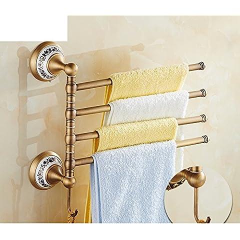 cobre antiguo toalla rack completo/ azul y blanco porcelana toallero de barra/ rotación continental toallero/desorbitarte de toallas/Accesorios de hardware de