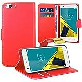 Vodafone Smart Ultra 6 Handy Tasche, FoneExpert® Wallet Case Flip Cover Hüllen Etui Ledertasche Lederhülle Premium Schutzhülle für Vodafone Smart Ultra 6 (Rot)