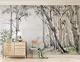Fototapete Vlies Wallpaper 3D Tapete Wand deko Moderne Seide Wandbilder Anpassbare elegante neue chinesische nordische ikea Bambus Wald TV Hintergrundwand.