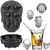 Kesote Stampi per Cubetti di Ghiaccio a Forma di Cranio 3D Stampi in Silicone di 6 Cubetti Vassoio di Cubetti per Alcolici, Whisky, Cocktail Buon Stampi con Un Imbuto per Festa di Halloween