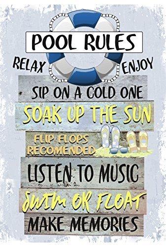 Frauen Pool (Monsety Wanddekorationsschild Pool Rules Schwimmbad Decor Lustiges Home Blechschild für Frauen)