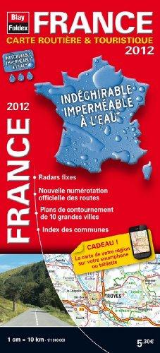 2012 France Carte Routière et Touristique Indéchirable