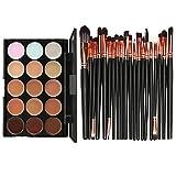 SKY 15 colores contorno crema facial maquillaje corrector paleta Profesional + 20 cepillo (Golden)