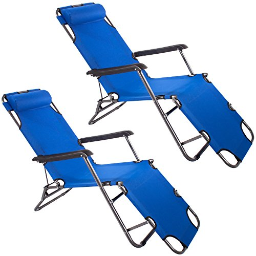 2x Smartfox Sonnenliege Gartenliege Strandliege 3 Sitz-/Liegepositionen ca. 180 cm Navy-Blau