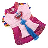 Zunea Hanbok traditionnel pour animal domestique Costume Chien Halloween Costume Manteau polaire d'hiver chaud Vêtements de fête sur le thème, pour petit chien chat chiot