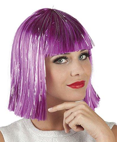 Boland 86168 Erwachsenenperücke Gigi Glamour mit Lametta, lila, One Size