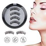 Magnetische Wimpern 3 Magnete Volle Augen - 3D magnet wimpern Natürlich Wiederverwendbare Künstliche Wimpern (1 Paar/4 Stück)