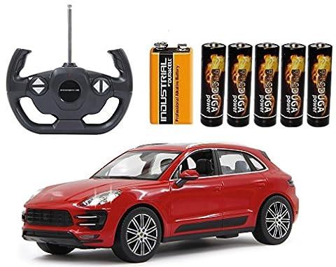 BUSDUGA - RC Porsche Macan Turbo ferngesteuert - wählbar.: Farbe , Maßstab - RTR ready-to-run - inkl. Batterien (Rot 1:14)