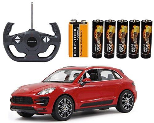 Preisvergleich Produktbild BUSDUGA - RC Porsche Macan Turbo ferngesteuert - wählbar.: Farbe , Maßstab - RTR ready-to-run - inkl. Batterien (Rot 1:14)
