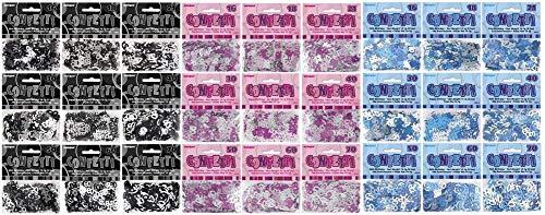 NANA'S PARTY Glitz Serie 3 Farben metallisches Konfetti (Geburtstagspartygeschirr), Black/Silver Glitz, 80th Birthday/Age 80